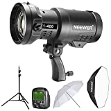 Neewer 400W 2.4G HSS Dual TTL(i-TTL and e-TTL) Outdoor Flash Strobe Light Kit for Canon and Nikon with Trigger, Rechargeable Li-ion Battery, Softbox, Light Stand and Translucent White Umbrella(F1-400)