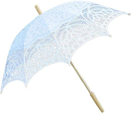 Leo565Tom Sombrilla de Encaje de 48 cm, algodón Puro de Gama Alta, Paraguas de Encaje Hecho a Mano Bordado, sombrilla de Encaje para Dama de Honor Blanco Blanco: Amazon.es: Hogar