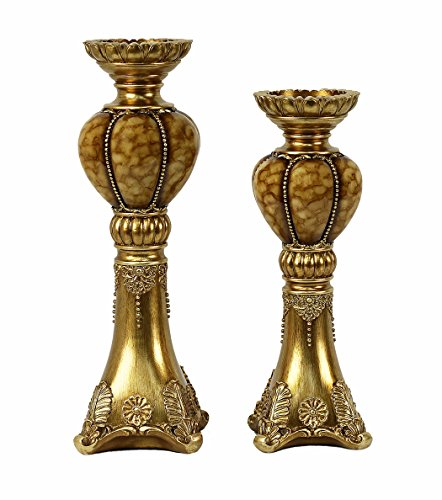 D'Lusso Designs Shanta Design Two Piece Hurricane Candlestick Set