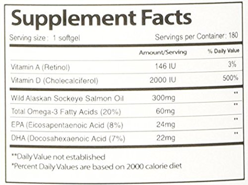 Vital Choice Wild Alaskan Sockeye Salmon Oil with Vitamin D3, 2000 I.U., 300mg, 180 Softgels