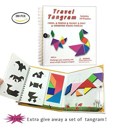 USATDD Tangram Game 360 Magnetic Puzzle Travel Game Tangrams jigsaw with Solution Answer Kid Adult Challenge IQ Book Colorful Educational Toy For 3-100 Years Old 【2 set of Tangrams 360 Patterns】