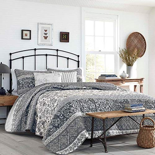 3 Piece Paisley Jacobean Floral Quilt Set Farm House Style Traditional Full Queen Grey Bedding Country Flairs Soft Beautiful Diamond Grid Stitch Garden Flower Print Blue White Classic Palette Shades -