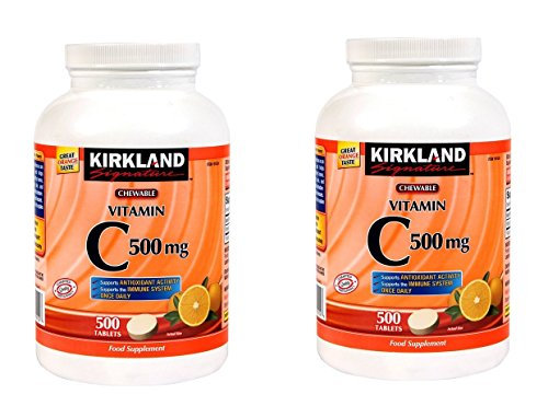 Kirkland Signature Vitamin C 500mg 2-Pack or 1000 Tangy Orange Chewable Tablets (Vitamin C Kirkland Signature)