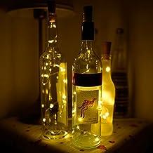 STYDDI 6 Pack 15 LEDs 2.4 Ft/28 inch Warm White Wine Bottle Cork Shape Lights - Silver Wire Starry Light Battery Powered lights for Christmas, Bottle DIY, Wedding, Party Decoration, Living Room