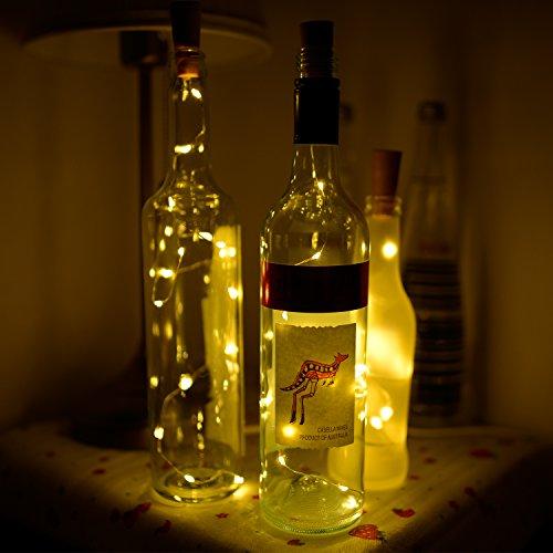 ATKKE 6 unidades de 15 LEDs de 2.4 Ft/28 pulgadas (71,1 cm) de luz cálida blanca en forma de tapón de botella de vino - guirnalda de luces plateada, ...