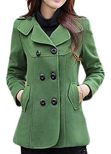 KXP Womens Casual Slim Double Breasted Lapel Solid Peacoat Green L (Navy Blue Peacoat)