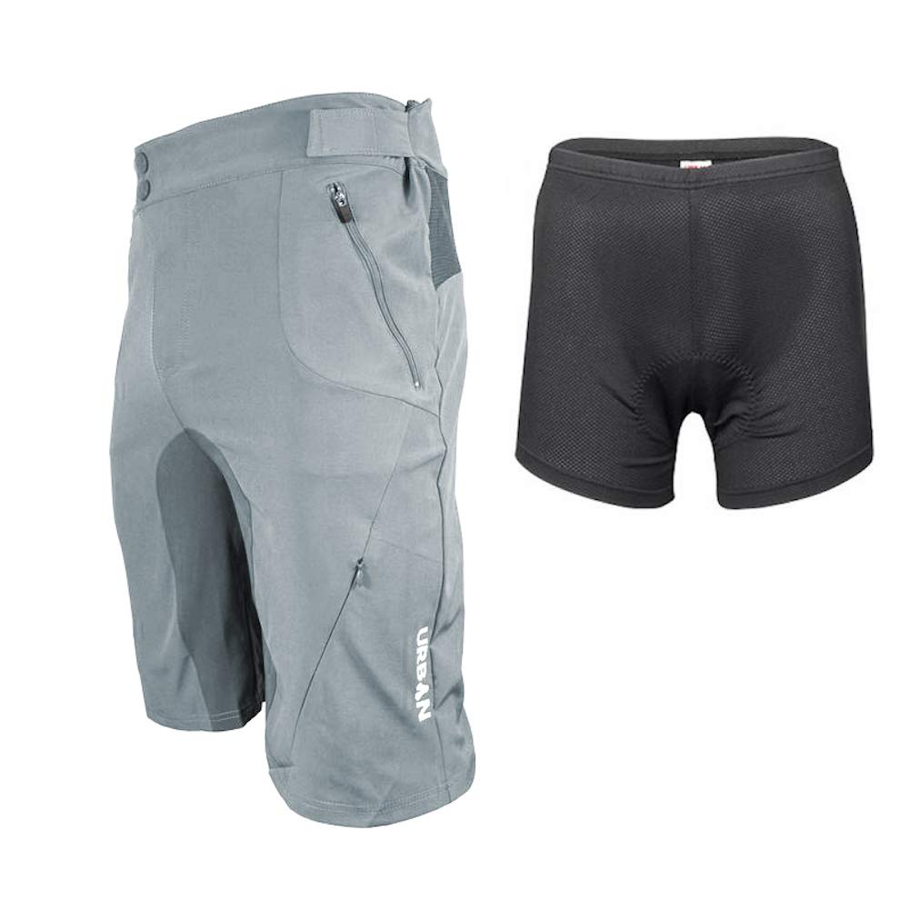 Urban Cycling Apparel Flex MTB Trail Shorts - Soft Shell Mountain Bike Shorts with Zip Pockets and Vents (Small (30''-32''), Gray, with Padded Underliner)