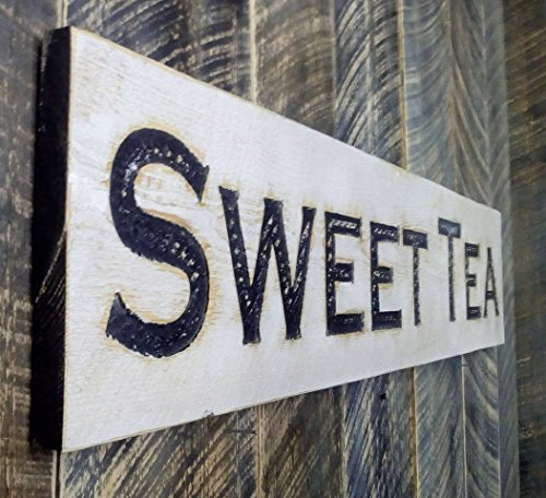 Sweet Tea Sign Horizontal - Carved in a Wood Board Rustic Arts Crafts Distressed Kitchen Farmhouse Style Restaurant Cafe…