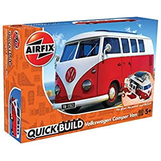 Airfix Quickbuild Volkswagen Camper Van Red Brick Building Plastic Model Kit J6017, Multicolour