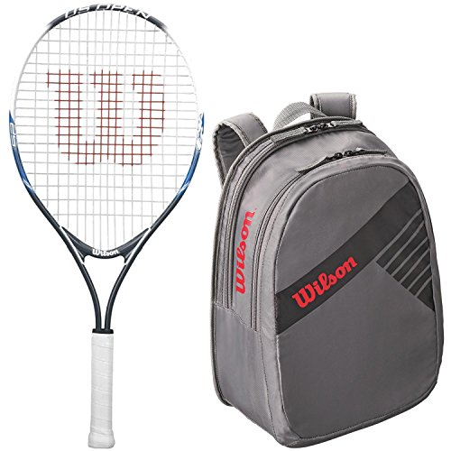 Wilson U.S. Open Child's Pre-Strung Junior Tennis Racquet Kit or Set Bundled with a Junior Tennis Bag Bundle (Perfect for Kids Ages 3-10)