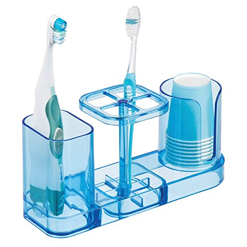 (mDesign Plastic Bathroom Vanity Countertop Dental Storage Organizer Holder Stand for Electric Spin Toothbrushes/Toothpaste with Compartment for Rinse Cups - Compact Design - Ocean Blue )