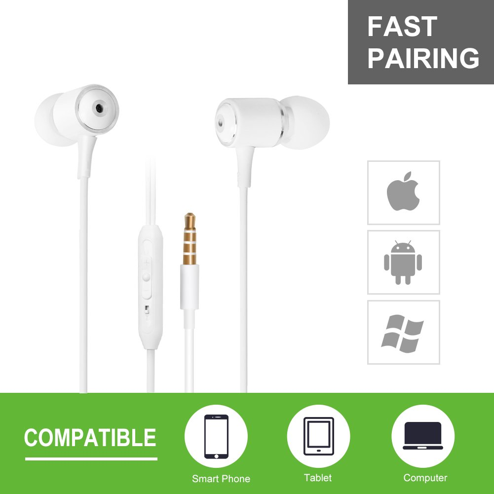 SMARTED Wired Earphones with Microphone 3.5mm Jack Volume Control Bass Noise Canceling In Ear Headphones with 4 Earbuds Runing 4.2 ft (White)