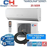 25 SEER Karolina 12,000 BTU Ductless Mini Split Heat Pump Free 25ft Line Set with WiFi