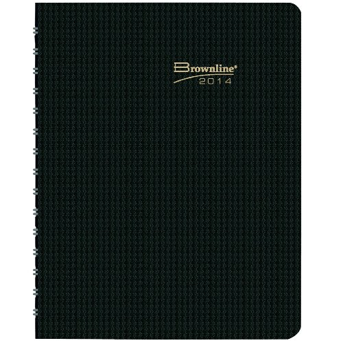 Brownline Duraflex Weekly Planner Twin-Wire Binding With Te x Ture 2-Piece Poly Cover 11-Inch x 8-1/2-Inch English Black (CB950V.BLK-14) (Binding 11x14 Covers)