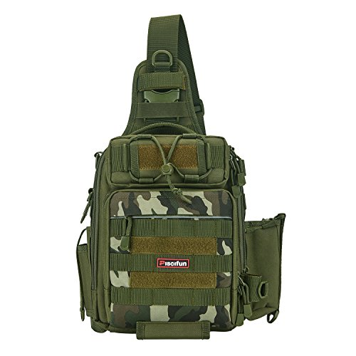 Piscifun Water-resistant Outdoor Tackle Bag Single Shoulder Fishing Tackle Storage Bags Durable Handbag Crossbody Bag Multifunctional Bags For Camping Hiking Travelling Army Green Camoflauge (Belt Camoflauge)