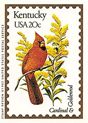 "Kentucky State Bird & Flower trading card (Cardinal & Goldenrod) 1991 Bon Air #17 ""The Bluegrass State"""