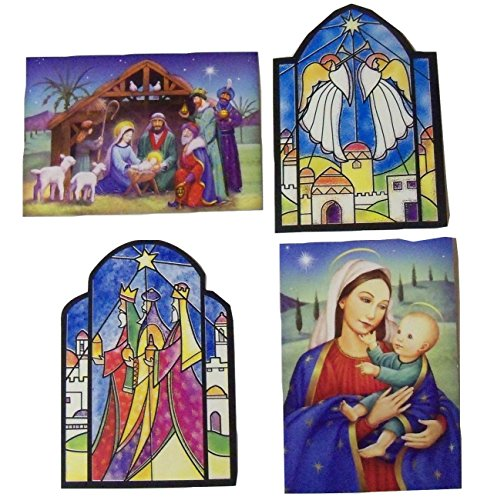 (Religious Christmas Card 12 Pack ~ Miracles of Hope, Gracious Gifts, Joy, Christmas Story Throughout the Year (3 Each Style))