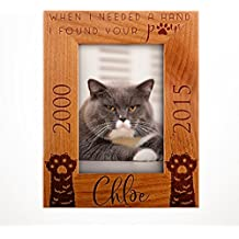 Lily's Atelier Personalized Name and Dates, Pet Memorial, Cat Memorial, Horizontal and Vertical Wooden Picture Photo Frame, 4x6 | 5x7 | 8x10 D9