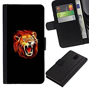 All Phone Most Case / Oferta Especial Cáscara Funda de cuero Monedero Cubierta de proteccion Caso / Wallet Case for Samsung Galaxy Note 3 III // Majestic Fire Lion