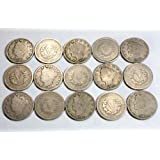 Collection of 15 Liberty Head V-nickels.