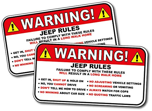 - (2 Pack) Jeep Rules Gag Sticker Funny Prank Warning Decal