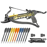 KingsArchery Crossbow Self-Cocking 80 LBS with Adjustable Sights, 3 Aluminium Arrow Bolts, Spare Crossbow String and Caps, and Bonus 12-Pack of Colored PVC Arrow Bolts Warranty