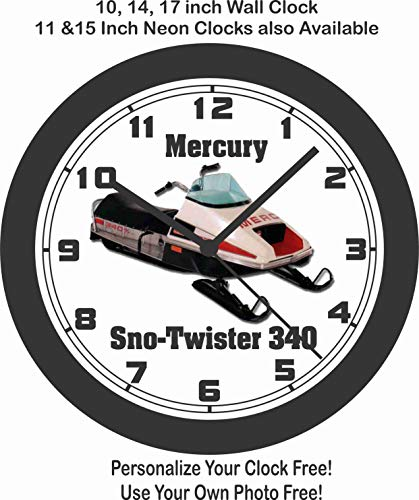 Jim's Classic Clocks 1976 Mercury SNO-Twister 340 Snowmobile Big 10 INCH Wall Clock-Free USA Ship