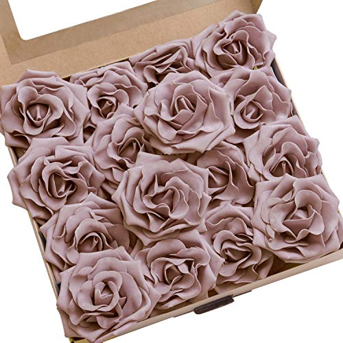 Lings moment Rose Artificial Flowers 16pcs Realistic Dusty Rose Avalanche Roses with Stem for DIY Wedding Bouquets Centerpieces Floral Arrangements Decorations