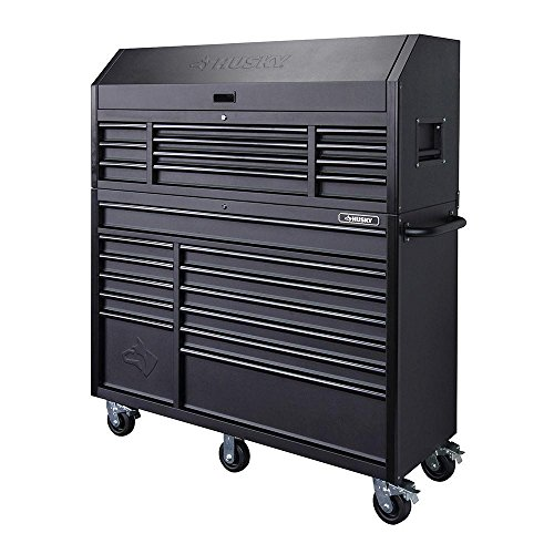 Heavy-duty, Drawer 23 Tool Chest 56 In. and Rolling Tool Cabinet Set, Black, Offers Unique Storage for your Longer Items and The Deep Cabinet Drawers Include Double 100 lbs by Husky