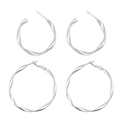 Amazon Com 2 Pairs White Gold Hoop Earrings For Women Girl