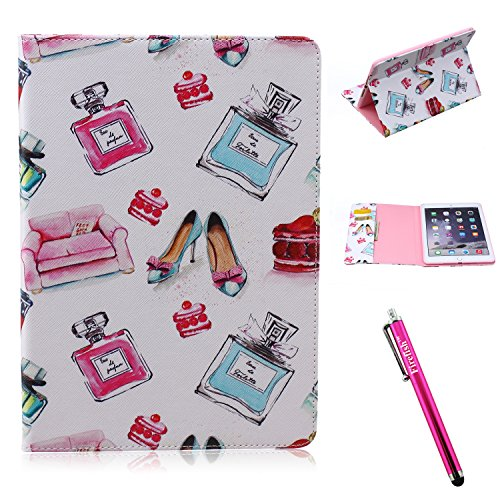 iPad Air 2 Case, Firefish iPad Air 2 Cover [Kickstand] [Bumper] Case Flip PU Leather Wallet with Card Slot Magnetic Closure Protect for Apple iPad Air 2 - Bottle shoes