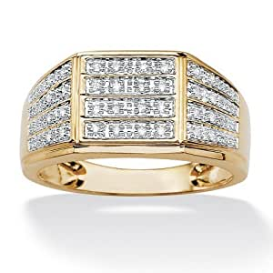 Royal Palm Jewelry 487779 Men's .16 TCW Round Pave Diamond 18k Yellow Gold Over Sterling Silver Multi-Row Ring - Size 9