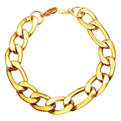 Link Bracelet Chunky (Men 18K Gold Plated 12MM Wide Chunky Figaro Chain Bracelet Punk Hip Hop Style)