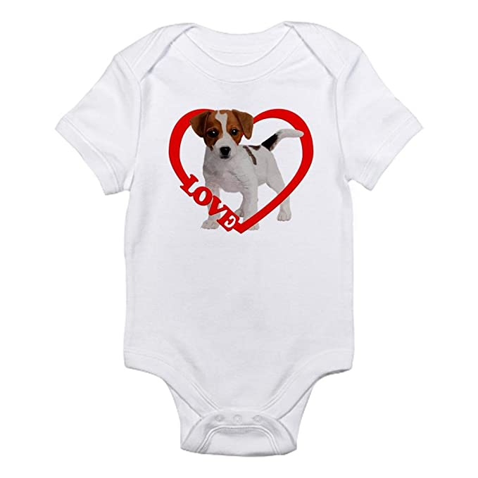 93f70ca776 Amazon.com: CafePress Jack Russell Puppy Love Infant Baby Bodysuit: Clothing