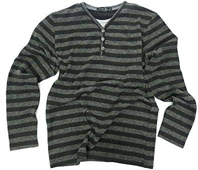 Tシャツ メンズ ニットソー ヘンリーネック Tシャツソー 裏起毛 長袖 Tシャツ M ワイン