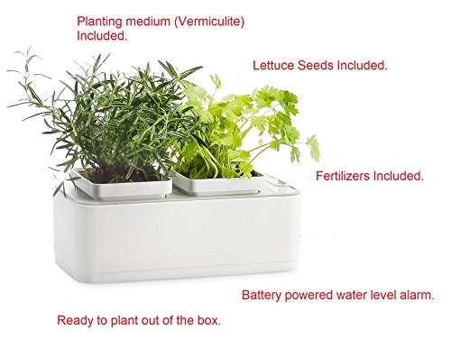 Growing Mediums Hydroponics - iRSE Indoor Garden Kit, Hydroponics Growing System, Seeds, Fertilizers and planting medium included - 2 Self Watering Gardening Pots, with battery powered water level alarm