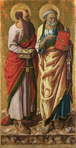 'Carlo Crivelli Saints Peter And Paul ' Oil Painting, 16 X 31 Inch / 41 X 79 Cm ,printed On Perfect Effect Canvas ,this High Resolution Art Decorative Prints On (Goat Legs Costume Accessory)