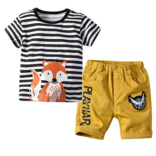 2PCS Set for Toddler Baby Boy Stripe Cartoon Animal Print Tops T-Shirt + Letter Short Trousers Pants Outfits Yellow -