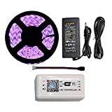 16.4ft 5050 RGB LED Strip Lights Kit with 300 LEDs Waterproof IP65 Christmas String Lights DC12V + Wireless WiFi Remote Controller by Phone APP + 5A Adapter Power Supply
