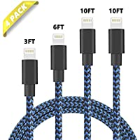 Besiva Phone Cable 4Pack 3FT 6FT 10FT 10FT Nylon Braided...