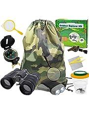 Outdoor Explorer Kit Geschenken Speelgoed, 6-12 Jaar Oude Jongens Meisjes Outdoor Adventure Exploration Set inclusief Verrekijker, Zaklamp, Kompas, Fluitje, Vergrootglas, Pincet, Bugviewer, Rugzak