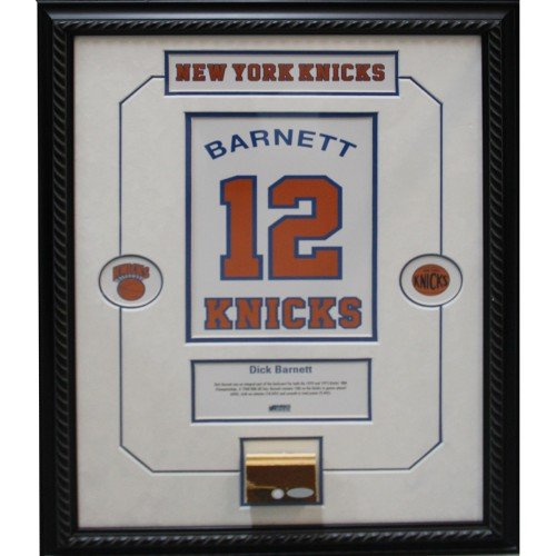Dick Barnett Retired Number NY Knicks Championship Court Piece 14x20 Framed Collage w/ Nameplate by Steiner Sports