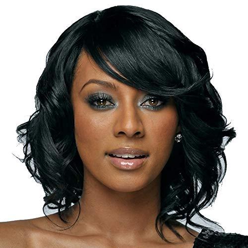 NEWPECK Afro Girls Elegant Middle Length Black Curly Wig W/Bangs Black Women Hair W/Curls