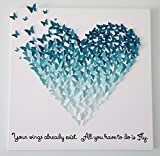 Hand-made 3D Butterflies - Ombre Butterfly Heart Art with Quote! Customizable! 24 x 24
