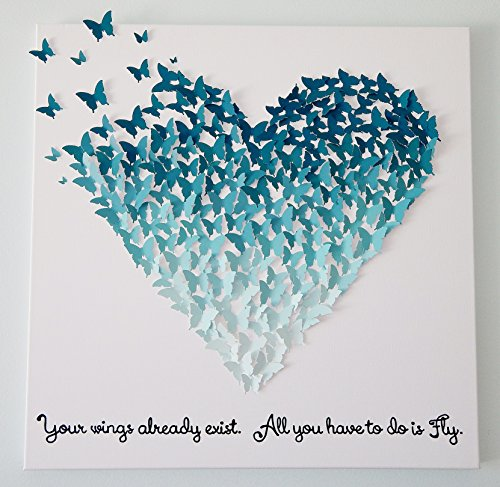 Hand-made 3D Butterflies - Ombre Butterfly Heart Art with Quote! Customizable! 24 x 24 by My Happy Heart Art