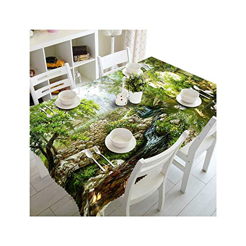 Rectangular 3D Green Forest Sunlight Scenery Pattern Dustproof Tablecloth New Year Party Table Cover,Color 8,135Cm X 180Cm