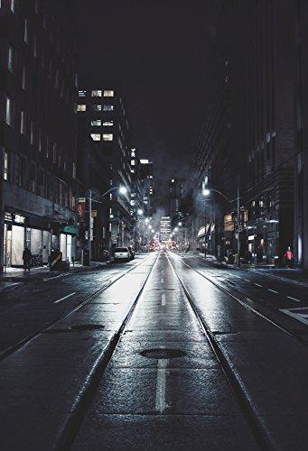 AOFOTO 5x7ft Urban Nightscape Backdrop City Street Buildings Photography Studio Props Alley Road Lamps Background Lane Digital Photo Shoot Video Drop Outdoor Scene Adult Girl Boy Artistic Portrait