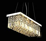 7PM W47″ x D10″ Modern Rain Drop Rectangle Clear K9 Crystal Chandelier Pendant Lamp Lighting Fixture 10 Lights for Dining Living Bedroom Room (Chrome Frame)
