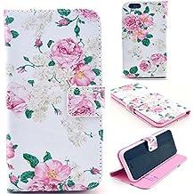 iPhone 7 wallet case, Pelotek colorful pink red rose floral pattern beautiful design luxury pu leather flip stand up elegant flower pattern with credit/ID card money holder slots (pink flower i7)