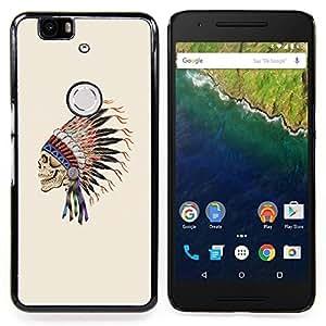 - Indian Headgear Feathers Chief Native/ Duro Snap en el tel????fono celular de la cubierta - Cao - For Huawei Nexus 6P